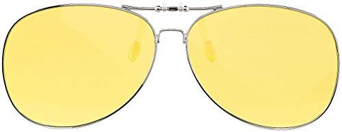 PEARL Auto Nachtsicht Brille: Nachtsicht-Brillenclip im Pilotenbrillen-Design, polarisiert, UV400 (Nachtbrillen)