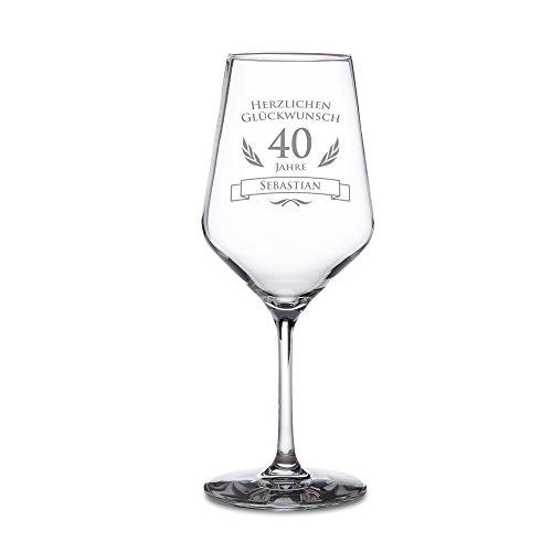 Weißweinglas – Weinglas mit Gravur zum 40. Geburtstag – Personalisiert mit [NAMEN] – Herzlichen Glückwunsch – Volljährigkeit – Geschenkideen für Männer und Frauen – Geburtstagsgeschenk Gläser Frauen