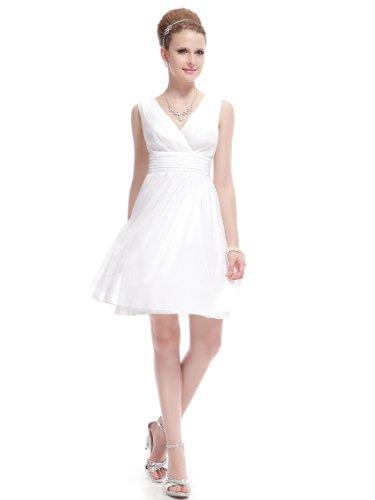 Ever-Pretty Abito da Damigella Donna Corto Scollo a V Senza Maniche Chiffon Stile Impero Bianco 48