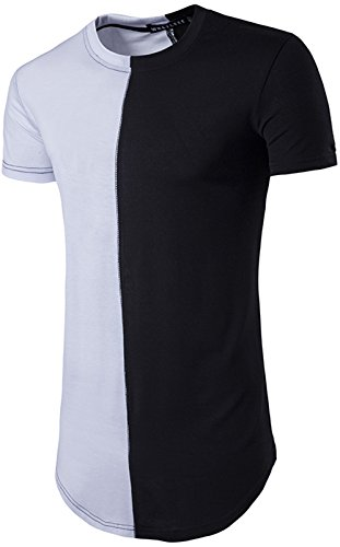 whatlees-summer-fashionable-mens-short-sleeve-longline-round-hemline-half-and-half-design-t-shirt-b4