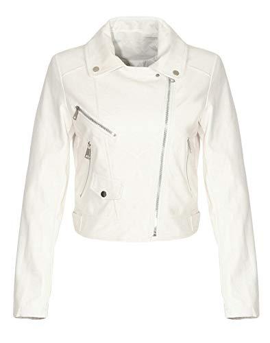 Malito Damen Jacke | Kunstleder Jacke | lässige Bikerjacke mit Zipper | Kurze Jacke - Faux Leather 5173 (weiß, XL) -