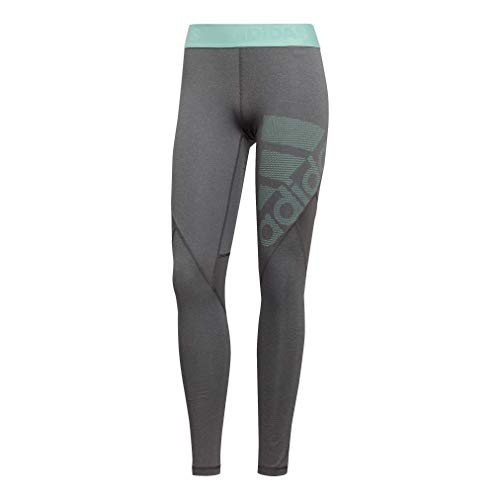 Adidas Tennis Strumpfhosen (adidas Damen Alphaskin Sport Long Tights, Dark Heather/Grey Four/Clear Mint, XL)