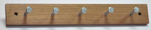 Attaccapanni appendino appendiabiti gancio appendiabiti vero legno /metallo noce / cromato opaco con 5 gancio 350 x 50 x