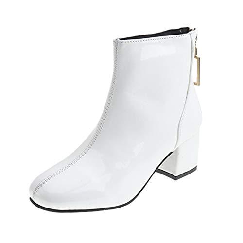 COZOCO Damen Kunstleder Stiefeletten wasserdichte Freizeitstiefel Einfarbig Quadratischer Absatz Kurze Stiefel(Weiß,38 EU)