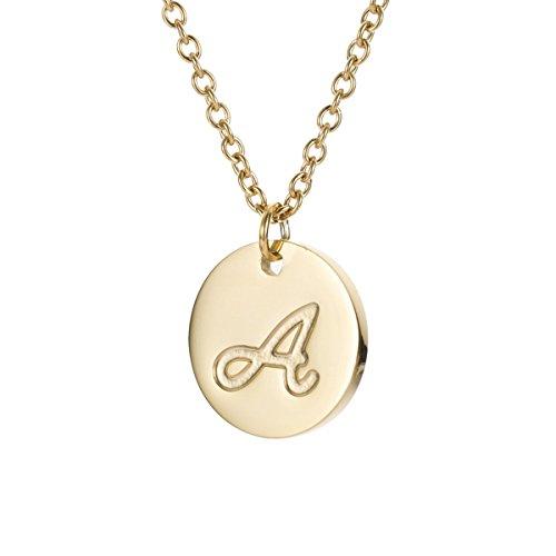 AOLOSHOW Edelstahl Initiale Graviert Scheibe Halskette Alphabet Buchstabe A (Gravierte Buchstaben)