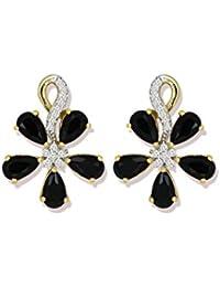 Zaveri Pearls Stud Earrings For Women (Black) (ZPFK5339)