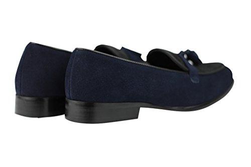 Herren Schwarz Navy Blau echt Wildleder Leder & Kalb Haar Quaste Slipper Vintage Slip On Smart Casual Schuhe Dunkelblau