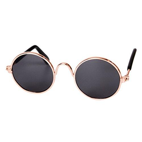 Zhhlinyuan Pet Sonnenbrille Hunde Katzen Sonnenbrille - Bunten Retro Circular Metal Style Pet Fotos Requisiten Cat Eye Brillenmode