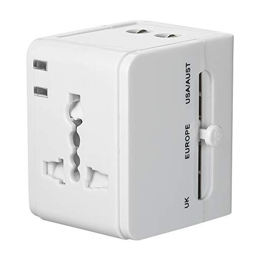 Leepesx Universal Travel Power Adapter Weltweit All in One Plug Socket Converter mit Dual USB Ports International Power Plug Adapter für UK US AU & Europa All In One Travel Plug