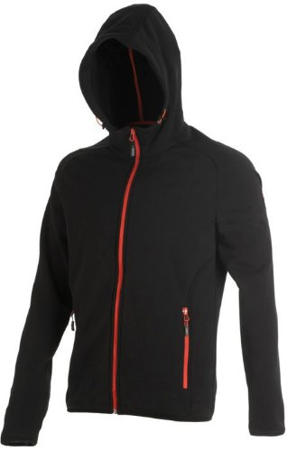 CMP MAN FLEECE JACKET FIX HOOD Schwarz
