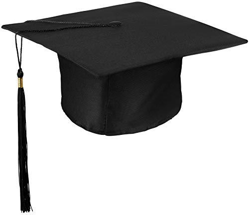 Party College Kostüm Motto - Bachelor Mütze | College | Master | Uni | Graduation | Doktorhut | Studentenhut für Abschlussfeiern vom Studium Universität Hochschule Abitur Absolventenhut in schwarz - Größe verstellbar