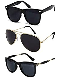 Sheomy UV Protected Aviator Men's Sunglasses(3IN1-105_7|Black) - Combo of 3