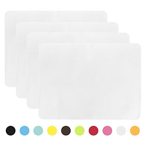 Aspire - tovagliette all'americana antiscivolo, in silicone, set di 4 white