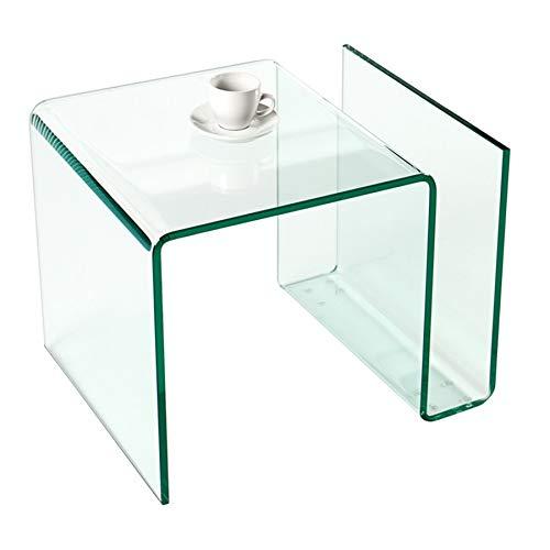 Invicta Interior Extravaganter Glas Couchtisch FANTOME Beistelltisch mit Ablagefach für Magazine transparent -
