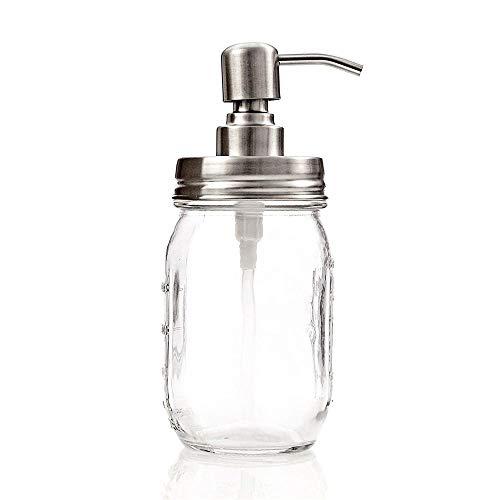 Kimmyer Dispensador de jabón Frasco de Vidrio-Plata Acero Inoxidable Mason Jar dispensador de jabón Tapas-Bomba de líquido de Plata para baño & Cocina-Kit dispensador de loción
