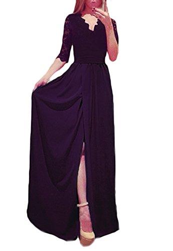 0789799a4db7 donna vestiti lunghi da sera in pizzo eleganti abito impero da sposa con  spacco manica 3