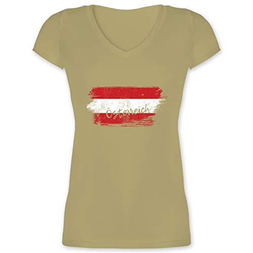 Länder - Österreich Vintage - XS - Olivgrün - XO1525 - Damen T-Shirt mit V-Ausschnitt