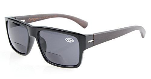 Eyekepper Qualitaet Federscharnier Holz Buegel Bifokale Sonnenbrillen Schwarz +3.0