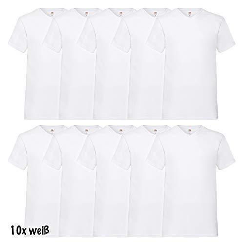 10 Fruit of the loom T Shirts V-Neck M L XL XXL V-Ausschnitt Diverse Farben auswählbar (L, Weiss)