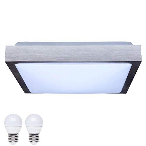 SAVONY IP20 (inkl. 2x LED Leuchtmittel E27 2x 6W) - (1040lm) - Decken Wandleuchte Deckenlampe Wandlampe für LED & ESL (Quadratisch 410x410)