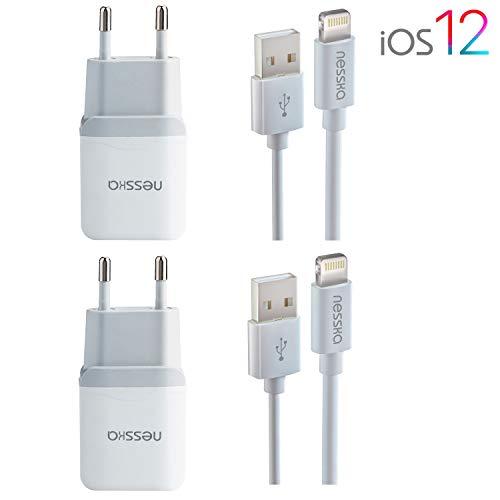 NessKa Original 4in1 Ladeset Ladegerät | 2X 2A Netzteil + 2X 2 Meter USB Highspeed Ladekabel | iOS 12 | passend für iPhone X/XR/XS/Max / 10/8 / 7 / 6s / 6 / Plus / 5s / 5c / 5 / iPad/iPod | Weiß