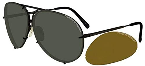 Porsche design - p8478, aviator, titanio, uomo, matte grey/green + dark orange brown semi-mirror(c ba), 63/10/135