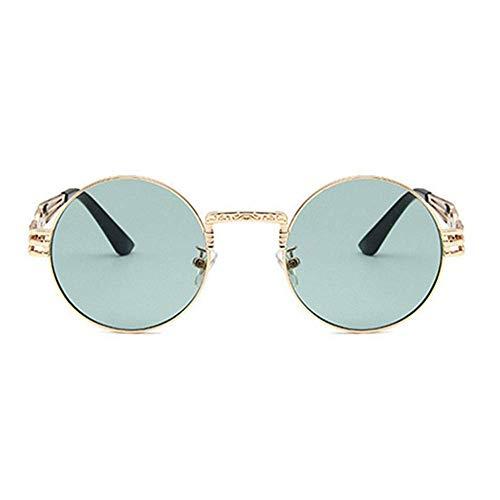 YSA Sonnenbrille Punk Sonnenbrille Männer und Frauen Metall Wrap Brille Runde Sun Shader Sonnenbrille Spiegel