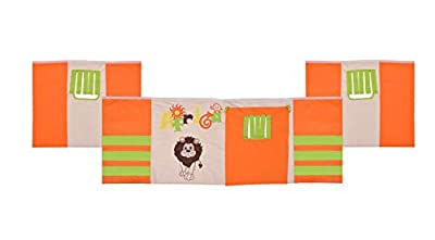 Cabin Bed Mid Sleeper Loft Bunk Tent - Curtain Only Orange Green Beige motive Africa, Jungle, Lion, Animals