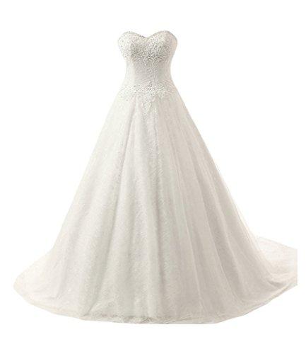 Sunvary Ball Gown Sweetheart scollo A-Line abito da sposa, Gowns White