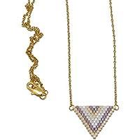 Collana Giapponese perle bianco lilla beige viola triangolo tessitura chevron catena acciaio inox regali personalizzati regalo Natale amici compleanno cerimonia nozze madre coppie
