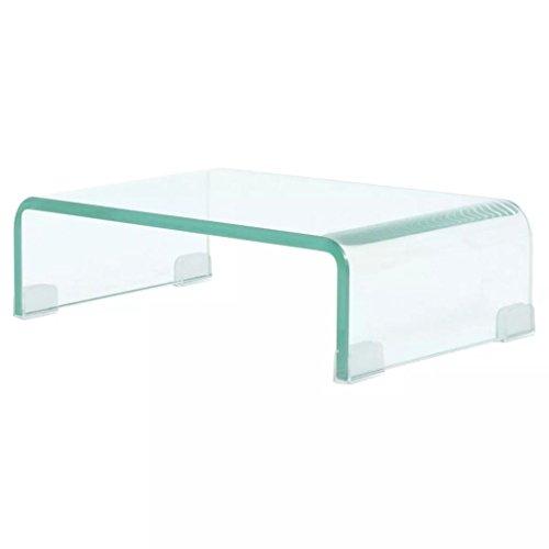 XingliEU Mobile/Fernsehtisch aus weißem Glas, 40 x 25 x 11 cm, einfaches und bequemes Design und strapazierfähiger Mobile Tür für DVD -