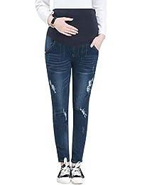 6d922bc86 besbomig Maternidad Mujeres Pantalones Embarazada Dril de Algodón Pantalón  - Ripeado Elástico Delgado Polainas Azul Oscuro