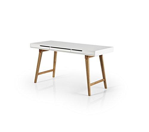 Robas Lund Schreibtisch Weiß Matt Gestell Massivholz Buche mit Schubladen, Anneke L BxHxT 140 x 75 x 58 cm