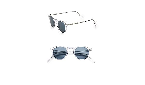 ee23473d870 Oliver Peoples 5217-S Gregory Peck Sunglasses 1101 R8 Translucent Crystal  Photochromic VFX Lenses  Amazon.co.uk  Shoes   Bags