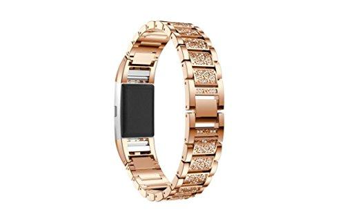 Preisvergleich Produktbild SHOBDW Schlussverkauf Fitbit Charge 2 armband,  Neuankömmling Luxus Kristall Edelstahl Metall Armband Armband für Fitbit Charge 2 (135-235MM,  Rose Gold)