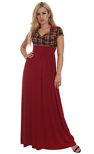 Langes Damenkleid Herbst Wiesenkleid Rot Tartan Empire Kleid Maxi von MontyQ (40/42) (Tartan Herbst)