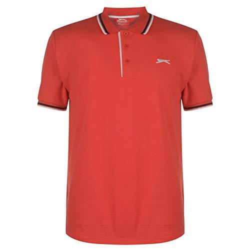 Klassisches Kurzarm-polo-shirt (Slazenger Herren Tipped Polo Shirt Passform Klassisch Rot UK Large)