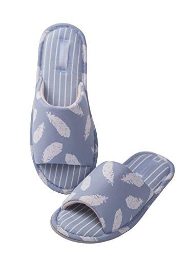 TWINS Fashion « Porto » leichte Design Damen-Hausschuhe I Latschen I Schlappen I Pantoffeln I Slippers - 100% Baumwolle rutschfest - Diverse Farben (40, Weiss-Blau)