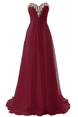 Abendkleider Ballkleider Lang Chiffon Brautjungfernkleid A Linie Damen Festkleid Burgundy EUR38
