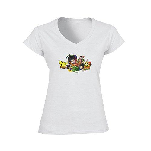Dragon Ball Super Characters Goku Gohan Vegeta Trunks Goten Buu Damen V-Neck T-Shirt Weiß