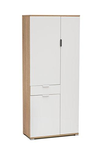 Memi me400l+s armadio, legno, sonoma/laccato bianco, 36.5x75x174 cm