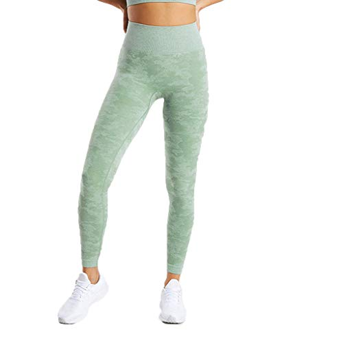 WOZOW Damen Leggings Gamaschen Farbverlauf Camo Print Druck Dünn Skinny Stretch Trousers Sweathose Lang Long Workout Jogginghose Yoga Sport Hose Stoffhose (M,Grün)
