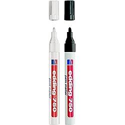 Marcador pintura Edding 750–Lote de 2-en, colores: negro, blanco y colores diferentes