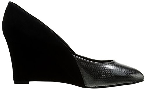 Pompa Nine West Devinity Suede Wedge Black/Pewter