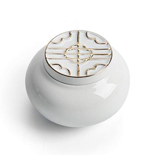 HUIJU Kleine Keramik Urne Andenken Keramik Elegant Für Mensch Oder Tier Asche-Hält Bis Zu 20 Kubikzentimeter Asche,Glosswhite(B) -