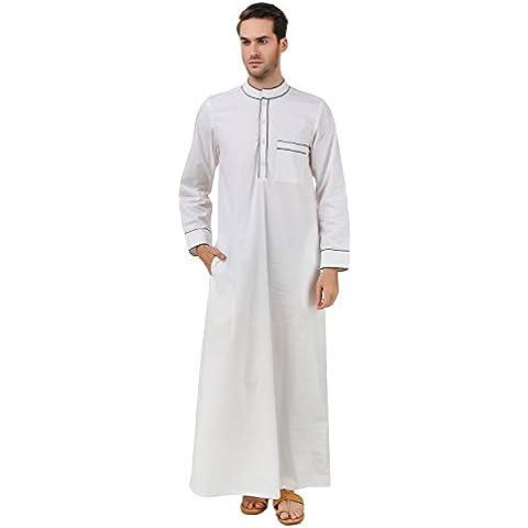 MyBatua cotone bianco galabiyya, Abbigliamento uomo, arabo Stile Thobe, Dishdash,