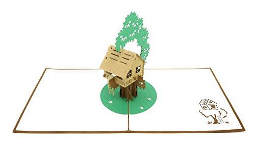 PopLife Cards Pop-up Grußkarte des Baumhauses 3d für alle Gelegenheiten - Hinterhofspaß, diy Abenteuer - Falten flach, vervollkommnen für das Senden - der Vatertag, Geburtstag, erhalten gut, Jahresta