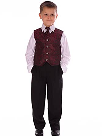 4 Piece Boys Wine Paisley Suit Wedding Pageboy Formal 12-18 Months to 14-15 years