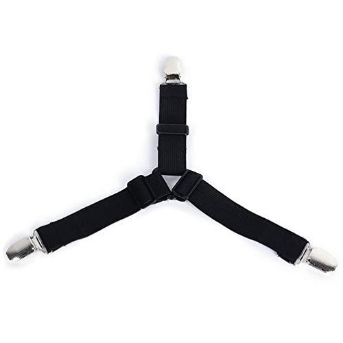 Dupeakya 4 Stück Dreieck Bettlaken Clips, Hochwertige Verstellbare Elastische Bettwäsche Zubehör Spannbetttuch Verschlussgurte