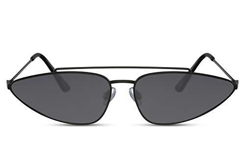Cheapass Sonnenrbille Double-Bridged Dunkelsilberner Metallischer und Futuristischer Style mit dunklen Gläsern Frauen 100% UV400 Schutz